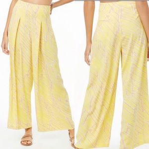 Forever 21 Yellow Wide Legs High Rise Pants, SZ S